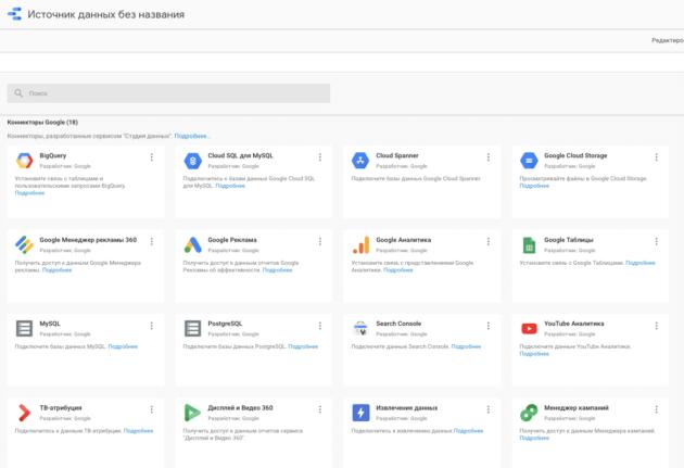 Источники данных в Google Data Studio