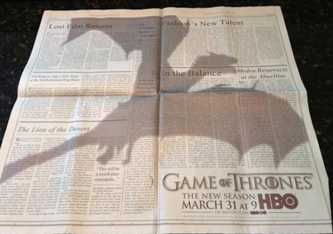 """Газета с нативной рекламой """"Игры престолов"""""""